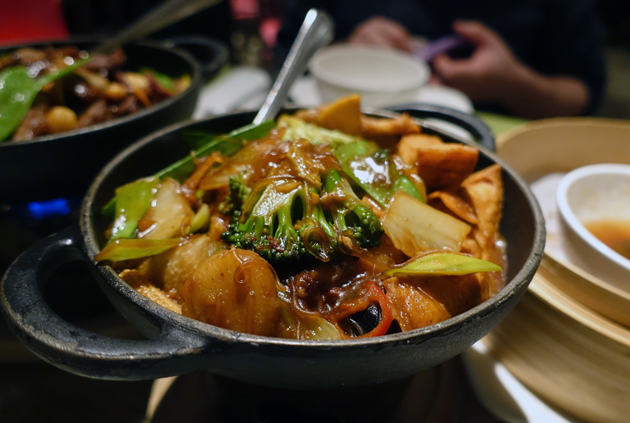 Hot Pot of glass noodles, deep fried tofu, mixed vegetables with satay sauce (7.95 GBP)