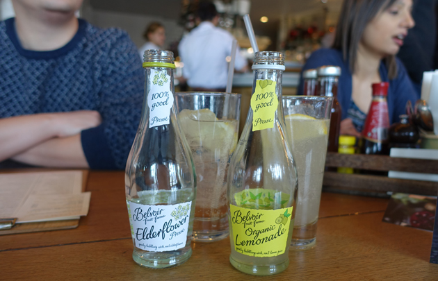 Belvoir lemonade and elderflower, 3.50 GBP each
