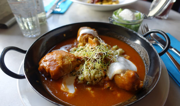 Chicken paprika stew, parsley dumplings, cucumber salad with sour cream, 2290 Hungarian Forint