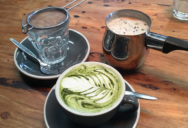 Matcha Maiden Pure Green Tea Powder Latte, $5 AUD, and Prana Chai Fresh Masala Blend made in Bayside steeped in Bonsoy Milk and Honey, $5 AUD