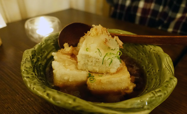 Tofu Age dashi (deep fried tofu with tempura fish sauce), $8.90