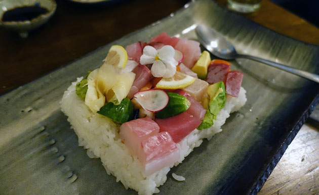Chirashi Zushi (a selection of sashimi on rice), $21.90