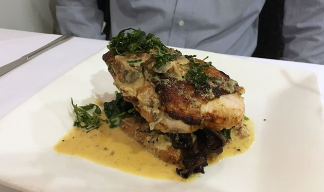 Pollo (crispy skin-on chicken breast, grilled and served with Kipfler potato, mushroom ragu, spinach and finished with a prosciutto and thyme cream sauce), $29.90