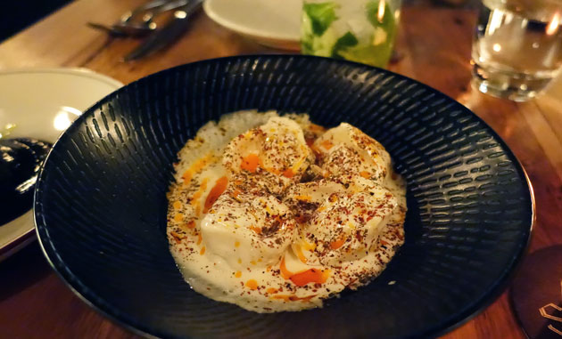 Spanner Crab Manti (Armenian dumplings, yoghurt soup and paprika butter), $16 AUD
