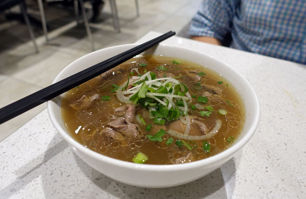 Rare beef noodle soup (pho bo tai), $10 AUD