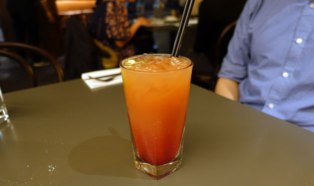 Safe Sex on the Beach (peach nectar, blood orange juice, pineapple juice and cranberry juice with a touch of grenadine served on the rocks), $9.50 AUD