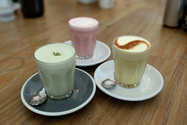 Health Lattes, Matcha, Tumeric and Beetroot, $5 AUD each