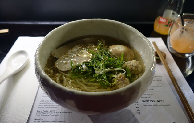 Tori Soba (Chicken Broth with Housemade special wavy noodles served with chicken meatballs and slow cooked chicken breast slices), $15 AUD