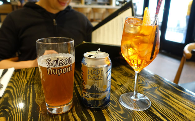 Aperol Spritz, $14, Garage Project Hapi Daze, $11