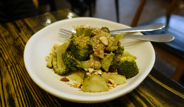 Broccoli with lemon butter and smoked almonds, $12