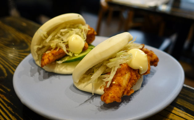 Fried chicken steam buns with lettuce, cucumber and mayo, $13