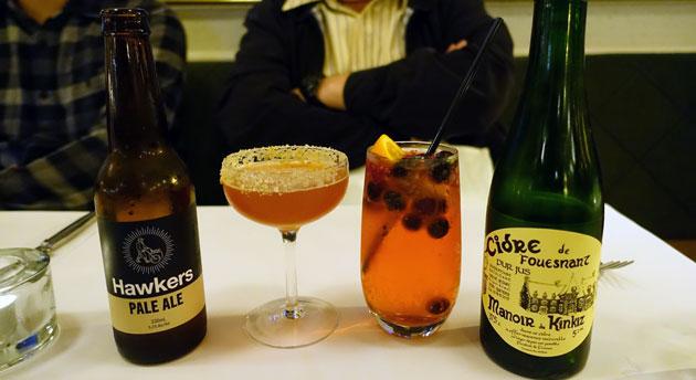 Hawkers Pale Ale ($10), Cidre de Fouesnant ($15), Sidecar cocktail ($19.90), berry mocktail ($9)