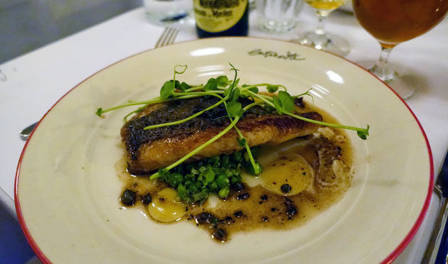 Poisson Meunier - Pan roasted Dory, Spring green pea crush, lemon, pea shoots, beurre noisette ($39.90)