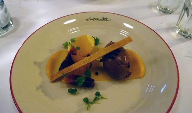 Valrhona Manjari Mousse au Chocolate - chocolate mousse, macerated citrus, lemon balm, tuile biscuit ($17.90)