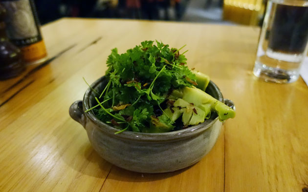 Steamed organic broccoli, smoked miso butter, fried shallots