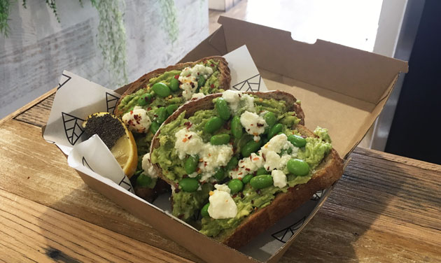 Avo Smash with chilli flakes and edamame and pumpkin seeds with optional goats cheese, $15.50
