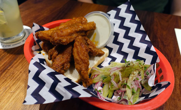 Buffalo Chicken Ribs, Blue Cheese and Celery