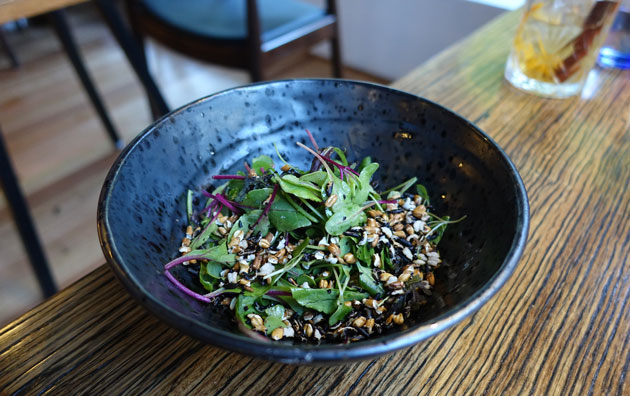 Mixed leaf salad and puffed grains, $7.50 AUD