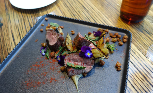 Lamb rump, eggplant, baba ganoush, fried chickpeas and fresh mint, $32.50 AUD